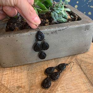 Black druzy chandelier earrings